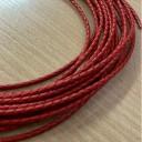 Красный. Шнур кожаный плетеный 3мм 1 сантиметр Цена указана за 1 сантиметр,