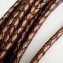 Шнур кожаный плетеный 4.0 мм Антик 1 сантиметр Цена указана за 1 сантиметр,