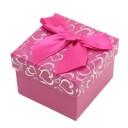 "Коробочка под кольцо и серьги ""Сердечки с бантом розовая 5 х 5 х 3,5 см"""