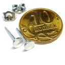 Гвоздик с крышкой 6 мм без барашка.Серебро 930 пробы. , 0,22 грамм